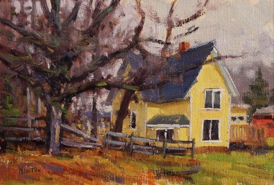 6 x 9     Yellow House     Oil