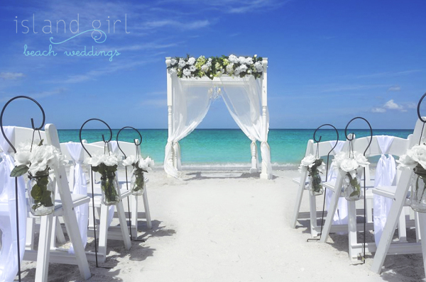 Lush white wedding flowers | Beach Wedding Arch Decor