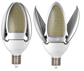"""Earthtronics – LED post top replacement lamps up to 54W. The """"umbrella"""" opens to move light downward towards any walk-way and assists in meeting dark sky requirements."""