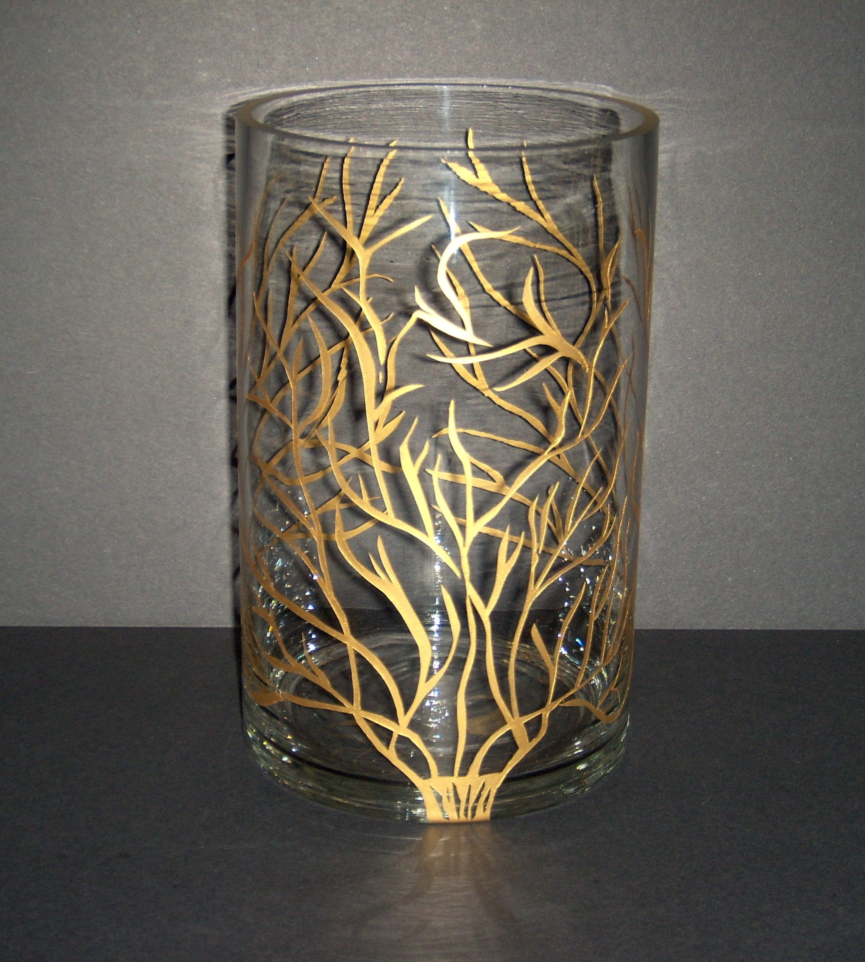 etched glass, gold-filled decorative vase