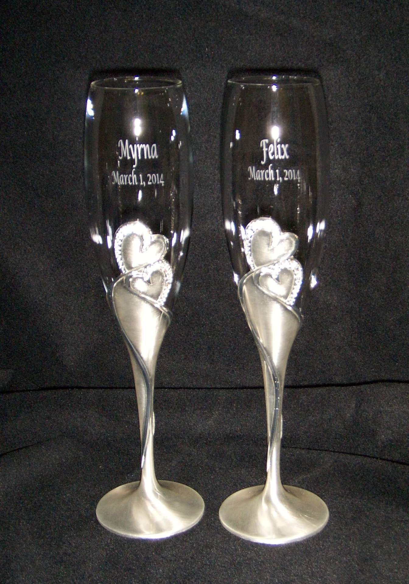 etched wedding flutes, etched toasting flutes, wedding flutes, etched glass flutes