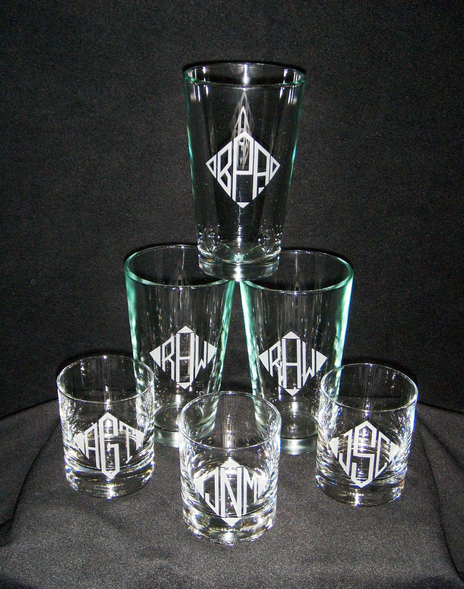 etched barware, custom etched barware