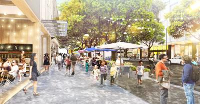 "A rendering for part of Facebook's ""Willow Campus"" development in Menlo Park, California."