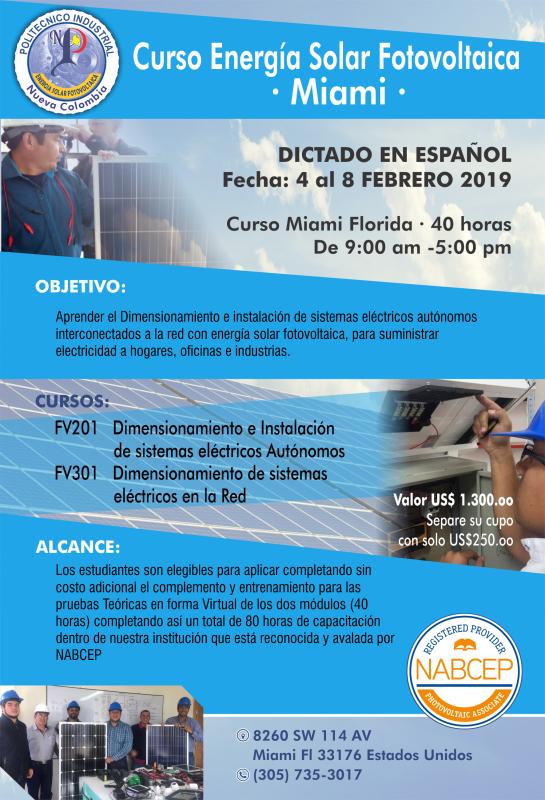 Curso Energía solar Fotovoltaica de 5 Dias (Miami)