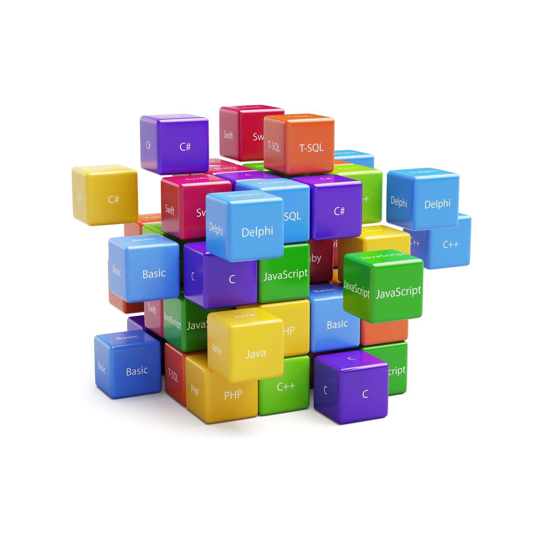 Blocks displaying the names of programming languages