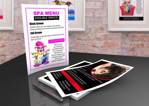 Printable pet grooming spa menu