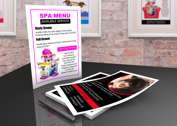 Printable pet grooming spa menu