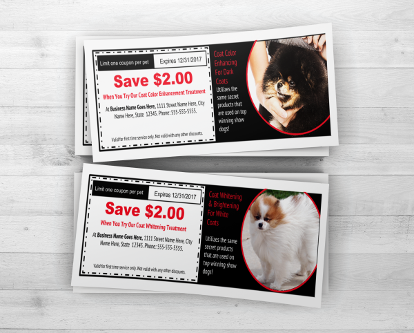 Coat color and whitening dog grooming coupon printables