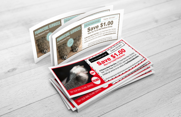 Dog pedicure and nail clipping coupon templates