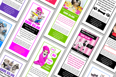 Dog grooming customer referral coupon templates