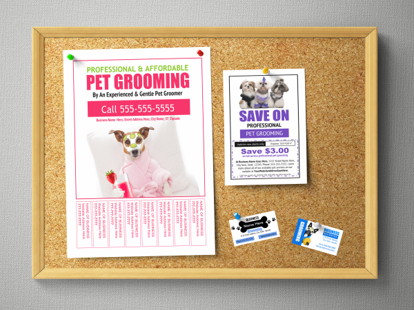 Bulletin board flyer templates for pet grooming business