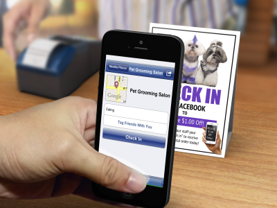 Printable Facebook check-in signs for dog grooming business