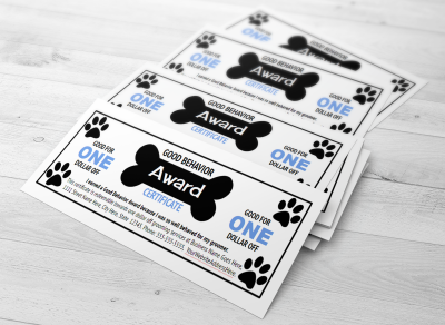 Dog grooming good behavior award template