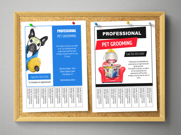 grooming business bulletin board flyer templates