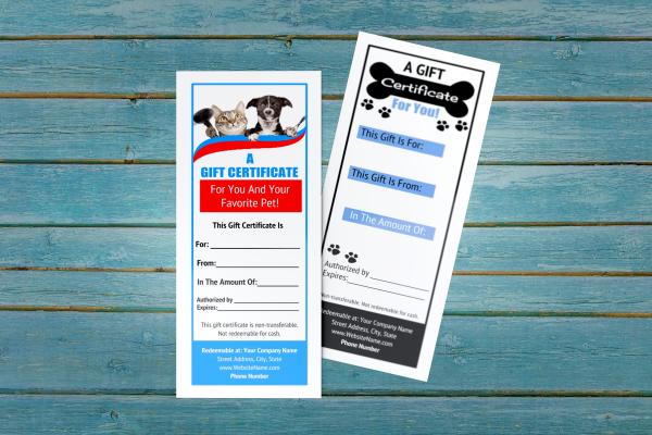 pet groomer gift certificate templates