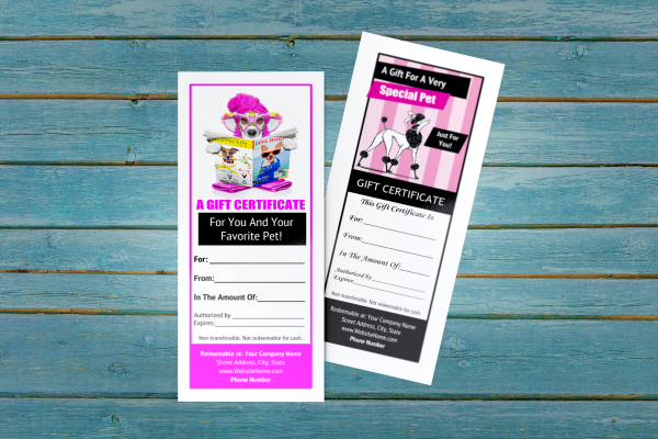 dog grooming gift certificate templates