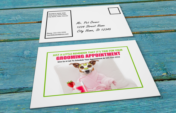 grooming business appointment reminder postcards 4