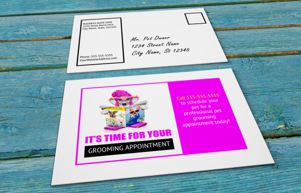 grooming business appointment reminder postcards 7