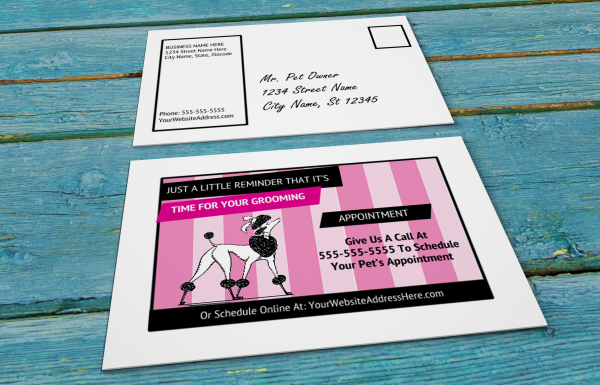 grooming business appointment reminder postcards 13