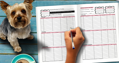 Weekly pages for dog grooming appointment book