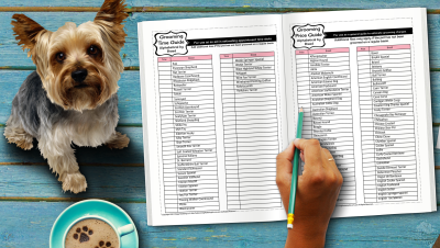 Alphabetical breed price list and grooming time sheet