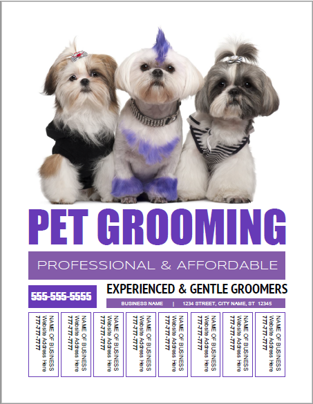 Pet grooming bulletin board flyer templates