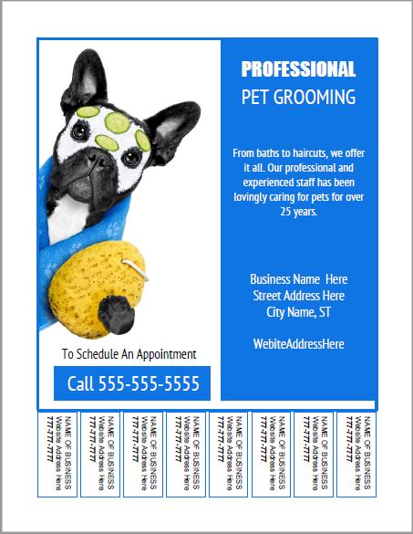 Pet grooming bulletin board flyer templates