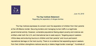 The Hay Institute Statement Regarding Separation of Refugee Families