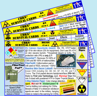 Alt = Chemical, biological, radiological, and nuclear (CBRN) quick review and reference on detection and treatment on 3 in x 5 in, laminated, pocket sized cards.