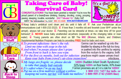 Alt = Taking Care of Baby (TCB) is yearly renewed quick reference and review of newborn problems, care, and needs for new parents, especially for Mom, with information on breast feeding, immunizations, hearing testing, proper car seat fit, WIC, Poison Control, SIDS, and Shaken Baby Syndrome on a pocket sized, laminated cards