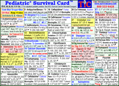 Pediatric Survival Card