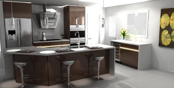 3D design, modern design, kitchen design, kitchen render