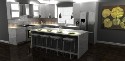 3D design, modern design, kitchen design, kitchen render