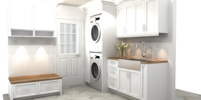 3D design, laundry design, mudroom design, laundry render