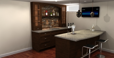 3D design, bar design, bar renderings, millwork design