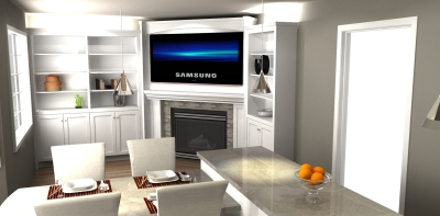 3D design, contemporary wall unit design, wall unit design, millwork render