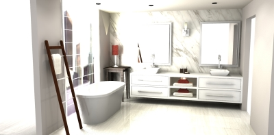 3D design, modern vanity design, vanity design, millwork render