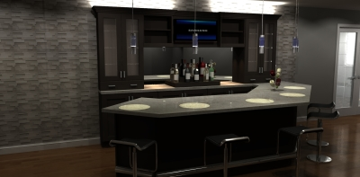 3D design, bar design, bar renderings, millwork design, transitional bar desin