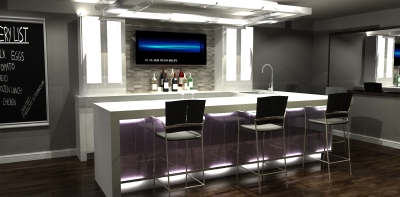 3D design, bar design, bar renderings, millwork design, modern bar design