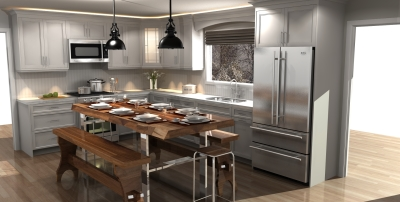 3D design, country style kitchen design, kitchen design, kitchen render