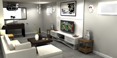 3D design, contemporary wall unit design, wall unit design, millwork render, basement design