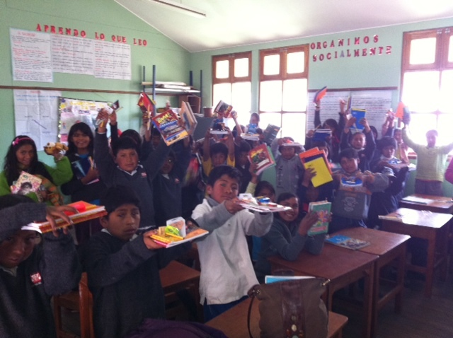 Donations of school supplies and sports equipment to schools in Peru