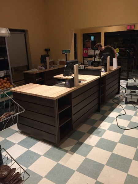Checkout Counter: Quatersawn white oak with maple top carh wrap