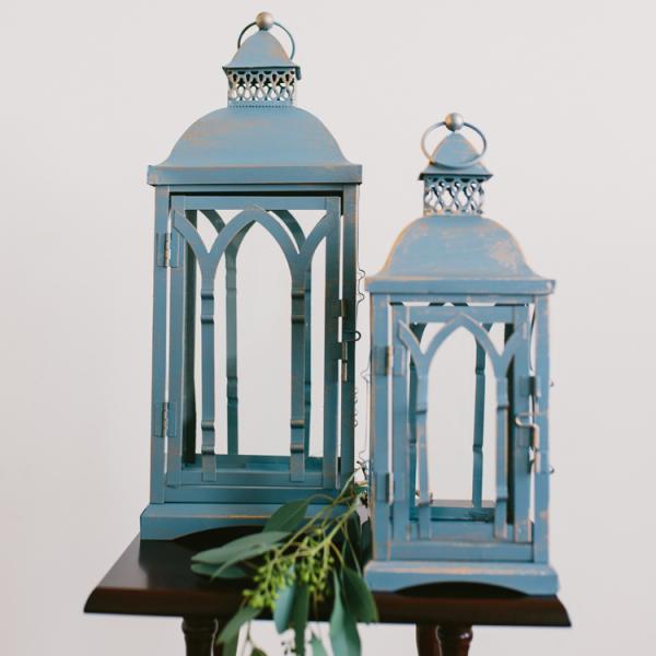 Rustic Blue Lanterns - Set of 2