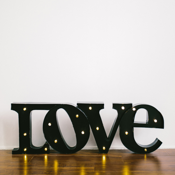 """""""Love"""" Marquee Sign - Black"""