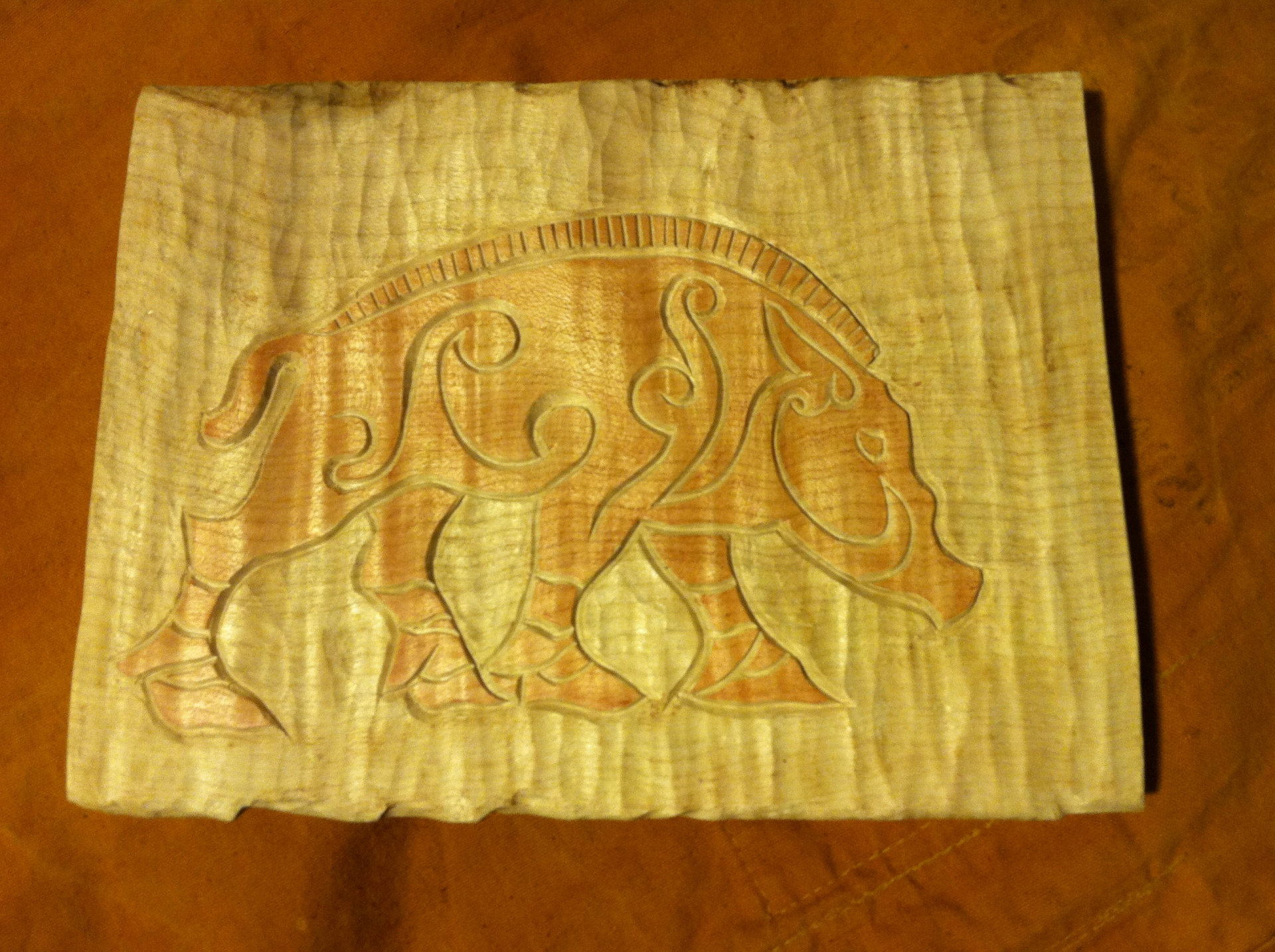 Hand Carved Celtic Boar High Relief