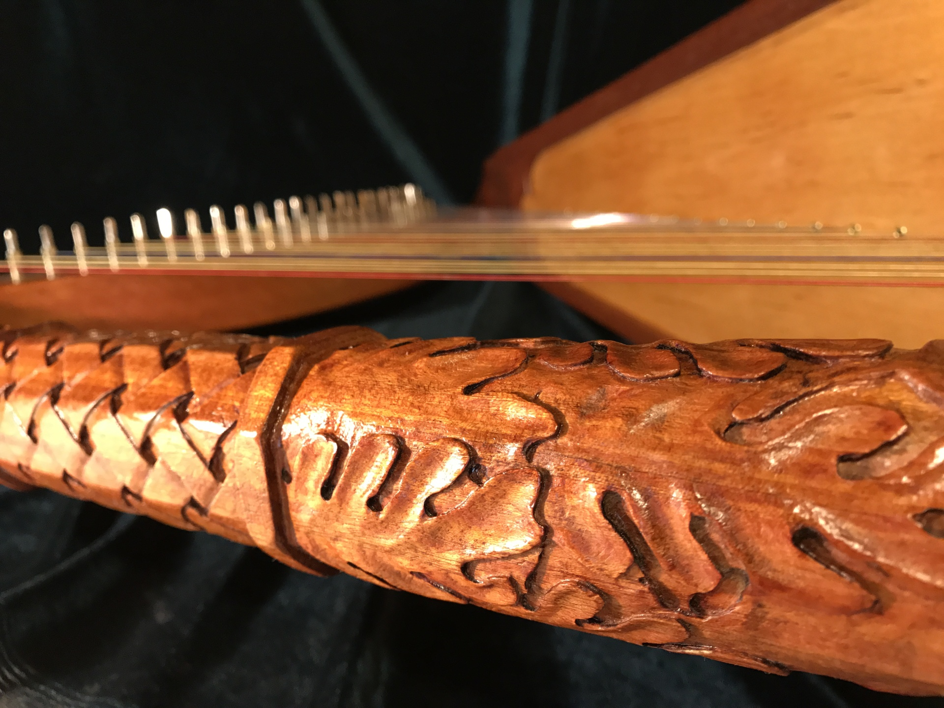Harp gold leaf, carving, pyrography