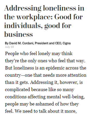 Addressing loneliness in the workplace: Good for individuals, good for business