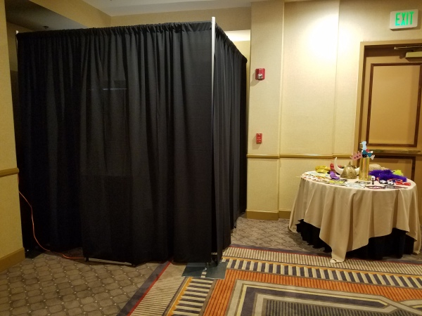 Enclosed photo booth lounge