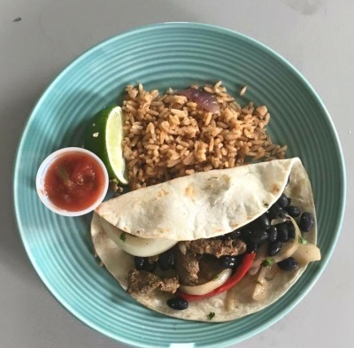 Beef Fajita with Spanish Rice and Salsa